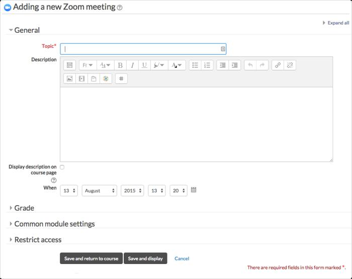 Zoom meeting plugin in Moodle