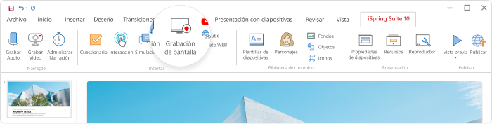Grabar un screencast en iSpring Suite